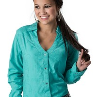 Wrangler® Women's Metallic Turquoise Paisley Embroidered Long Sleeve Western Shirt