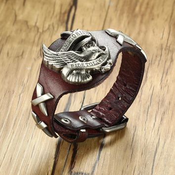 Eagle Spirit LIVE TO RIDE, RIDE TO LIVE Motorcycle Biker Leather Bracelet for Men Punk Wristband Bangle Male Jewelry Adjustable