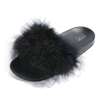 FITORY Slides for Womens Faux Fur Fuzzy Slippers with Arch Support in Flat Sandals Girls Outdoor Indoor Shoe