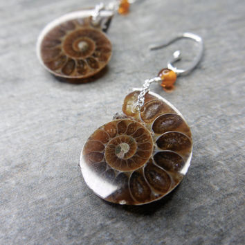 Earthy Earrings, Boho Luxe Jewelry, Ammonite Fossils, Rustic Stones, Sterling Silver, Baltic Amber, Fibonacci Sequence, Unique Statement