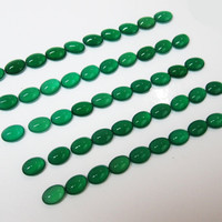 50 Green Agate Oval Cabochons 7x5mm Gemstones 37.61 carat