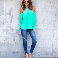 2016 Summer Casual Women Blouse Fashion Sexy Long Sleeve Halter Neck Off Shoulder Shirts Solid Color Loose Chiffon Blouses M0387