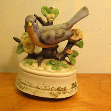 vintage ceramic blue bird music box from Price Import made in Taiwan