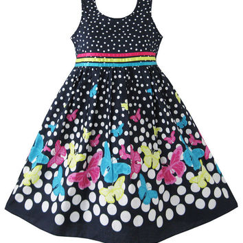 Girls Navy Blue Party Sleeveless Butterfly Patry Spring Occasion Summer Dress
