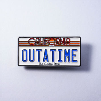 Back To The Future Movie Car License Plate Lapel Pin