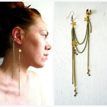Constellations. Stars Single Earring Ear Cuff