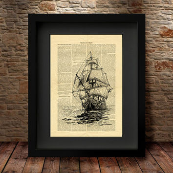 Sailing Ship Home decor, Ship Wall decor, Dictionary Wall art prints, art print, print art, Dictionary page art, vintage style book page -17