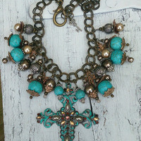 Antique Gold Turquoise Cross Statement Assemblage Necklace Religious Western Jewelry