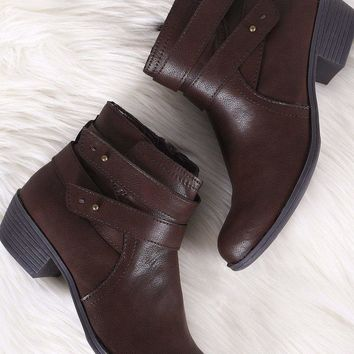 Bamboo Strappy Round Toe Moto Ankle Boots
