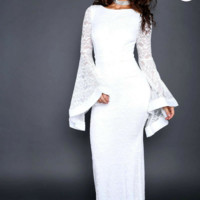 Lace Fluttering Bell Sleeve Maxi Dress