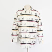 Vintage 90s RALPH LAUREN Shirt / 1990s Chaps Striped Insignia Crest Button Up L
