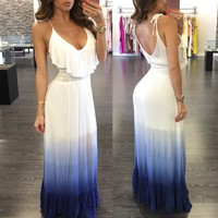 Blue and White Gradient Halter Long Dress with Overlay