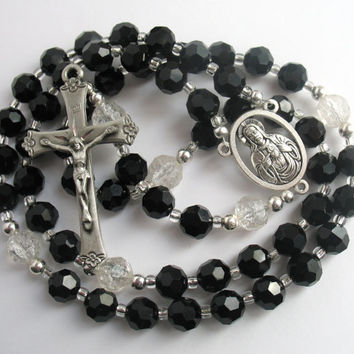 Sacred Heart of Jesus Rosary, Black Bead Rosary, Black and Silver Beads, Catholic Rosary, Black Beads, Silver Crucifix