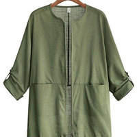 Roll Up Sleeve Double Pocket Linen Jacket