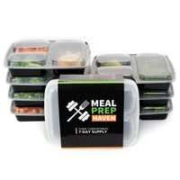 Meal Prep Haven Stackable 3 Compartment Food Containers with Lids, Set of 7