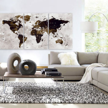 "LARGE 30""x 60"" 3 Panels Art Canvas Print Watercolor Map World Push Pin Travel Wall color Brown beige decor Home interior (framed 1.5"" depth)"