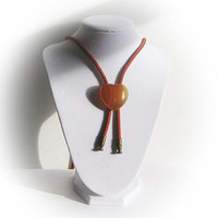 Orange Bolo Necktie with Heart Shaped Agate Slide