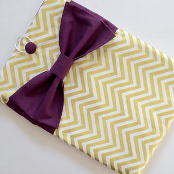 "Macbook Pro 15 Sleeve MAC Macbook 15"" inch Laptop Computer Case Cover Gold & White Chevron with Maroon Bow"