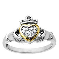 Lord & Taylor Diamond Accented Claddagh Ring in Sterling Silver with 14 Kt Yellow Gold