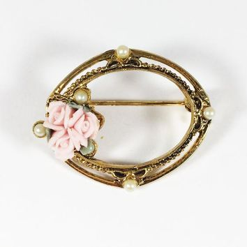 1928 Oval Wreath Pin Three Pink Roses Simulated Pearls Vintage 1980s Gold Tone Flower Brooch Mother's Day Gift for Her Birthday