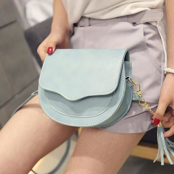2016 summer fashion new handbags women bag quality pu leather fringed Macaron stereotypes shoulder bag Messenger shell bag