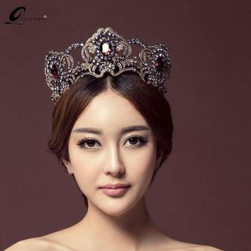 Luxury Vintage Antique Gold Wedding Crown Alloy Bridal Tiara Baroque Queen King Crown champagne Crystal tiara crown