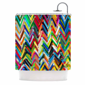 "Frederic Levy-Hadida ""Chevrons"" Rainbow Shower Curtain"