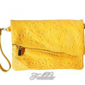 Italian Folded Yellow Genuine Leather Clutch with Pattern