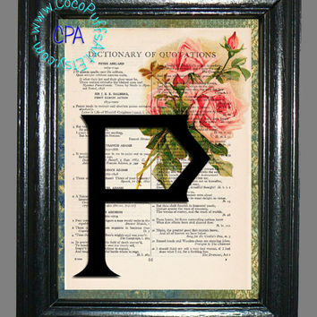 Letter P with Pink Roses - - Vintage Dictionary Book Page Art-Upcycled Page Art,Wall Art,Collage Art, Pink Flowers, Botanical