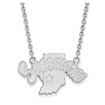 NCAA Sterling Silver Indiana State Large Sycamores Pendant Necklace