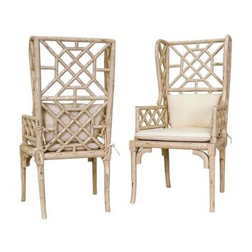 Bamboo Wing Back Chair Cream (Set of 2)