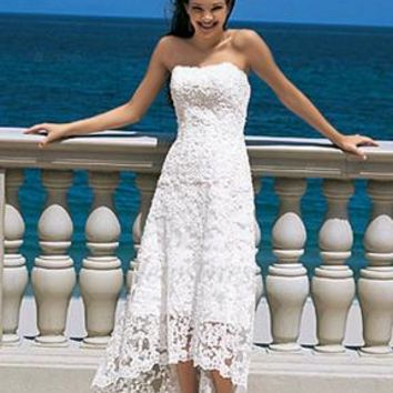 2017 Boho Short Summer Beach Wedding Dress Strapless Lace High Low Bridal Gowns Simple Reception Wedding Dresses Robe de Mariage