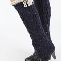 Milly Button Lace Accent Knit Leg Warmers in Navy