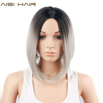 HAIR Synthetic Ombre Grey Hair Bob Style Short Wigs for Black Women