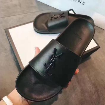YSL Fashion Ladies Casaul Letter Logo Casual Sandals Slippers Shoe Flip Flops Pure Black I