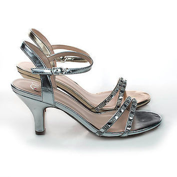 Martini Gold By Delicious, Rhinestone Crystal Encrusted Low Heel Sandal w/ Ankle Strap