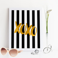 FASHION Print,XOXO,Gossip Girl,Kisses And Hugs,Lovely Words,Love Poster,Black And Gold,Gold Foil,Gift For Boyfriend,Valentines,Wall Art