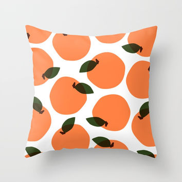 Peaches Throw Pillow by sydneyrae
