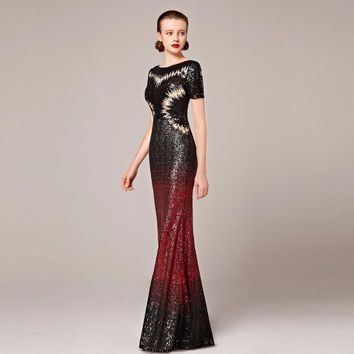 2016 Coniefox New Styles Short Sleeve Sequins Sexy Black and Red Mermaid Host Prom Evening Long Dress 82281