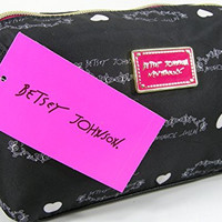 New Betsey Johnson Logo Cosmetics Make-up Case Bag Black White Hearts E/W Cosmo