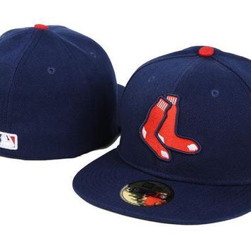 ESBON Boston Red Sox New Era MLB Authentic Collection 59FIFTY Hats Blue-Red