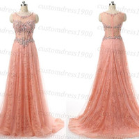 New 2016 Coral Long Prom Dress Handmade Beading Tulle Coral Wedding Party Dress/Coral Formal Evening Women Dresses