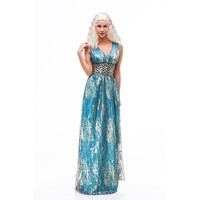 Game Of Thrones Daenerys Targaryen Cosplay Long Blue Dress Costume Stormborn The Unburnt Mother of Dragon Cosplay costume