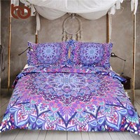 BeddingOutlet Purple Glowing Mandala Duvet Cover With Pillowcases 3pcs Super Soft Boho Bedclothes Mandala Luxury King Bedding