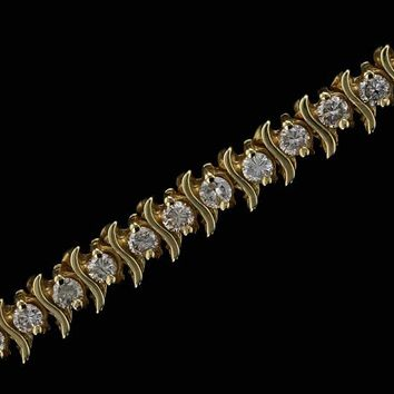 14k Yellow Gold Estate 3cttw S Style Diamond Tennis Bracelet