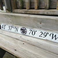 Beach Nautical Sign Custom Latitude and Longitude  Wall Decor Vintage Style Nursery