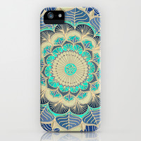 Midnight Bloom - detailed floral doodle in gold, navy blue & mint iPhone & iPod Case by micklyn