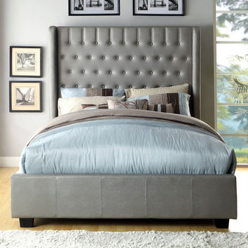 Furniture of America Carmella Silver Leatherette Wingback Low Profile Bed