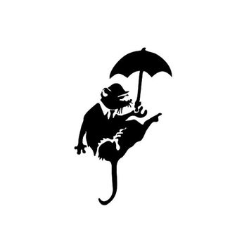6 inches high Banksy Vinyl Decal / Sticker suitable for wall, car, door, window, etc. - Custom sizes available - rat with umbrella