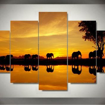 5 Pieces/set Wall Art for Home Decoration Paintings Africa Elephant Picture Painting Wall Art Room Decor Canvas For Living Room